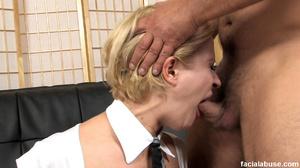 Innocent blonde skank gets facialized - XXX Dessert - Picture 1