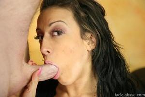 Slobbering slut gets her face cum splatt - XXX Dessert - Picture 1