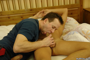 Horny brunette gay giving a head to his  - XXX Dessert - Picture 5