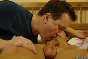 Horny brunette gay giving a head to his  - XXX Dessert - Picture 6
