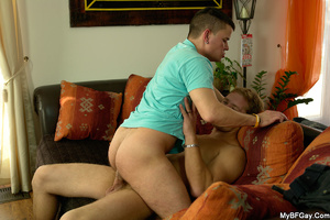 Short haired brunette gay dude gets his  - XXX Dessert - Picture 12