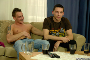 Sex starving gay hunk lets his friend pl - XXX Dessert - Picture 1
