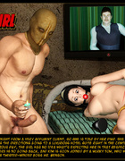 Enslaved 3d brunette gets gag balled and tied up by her masked master