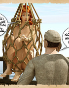 Captured by pirates redhead nude 3d stunners gets humilited and used as
