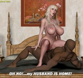 Cartoon nasty bimbos getting naked and practicing their black cock sucking