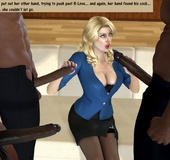 3d blonde milf with perfect breasts can't believe she gonna suck three