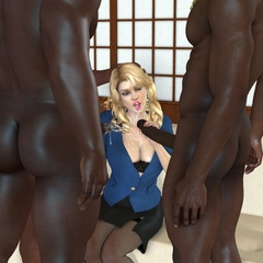 3d white bimbos willingly tasting black cum load - Picture 2