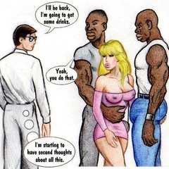 Naughty blonde cartoon wife gets butt fucked by black - Picture 1