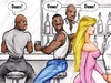 Cartoon hubby watching his wife being ass drilled in the men's room by
