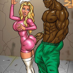 Cartoon busty blonde babe feeling naughty while gets - Picture 1