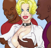 Two horny cartoon black students undressing and touching their white busty
