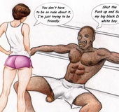 Black basketball jocks make white chick suck on his huge black cock