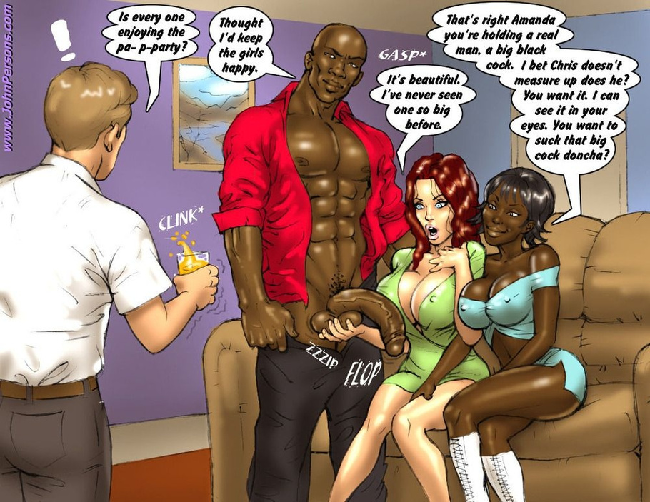 Huge ebony fellow is drilling white interracial cartoon