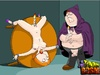 Fat horny toon dude tied up his busty wife and humiliates her body and