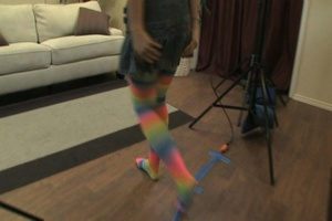 Blonde teen in striped stockings tastes  - XXX Dessert - Picture 3