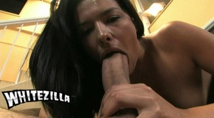 Dirty brunette enjoys swallowing a thick - XXX Dessert - Picture 25