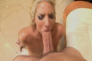 blond slut swallows huge