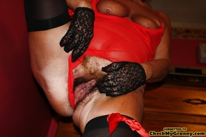 Chubby blonde mature lady in red and bla - XXX Dessert - Picture 7