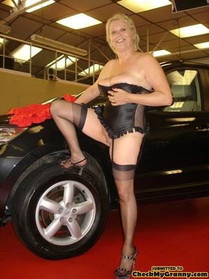 Blonde granny in black lingerie slowly g - XXX Dessert - Picture 11