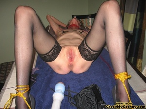 Bondaged mature granny in black stocking - XXX Dessert - Picture 12
