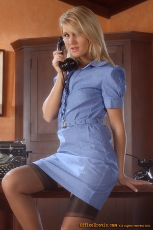 Sexy blonde secretary gets naked in the  - XXX Dessert - Picture 1