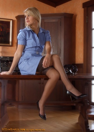 Sexy blonde secretary gets naked in the  - XXX Dessert - Picture 5