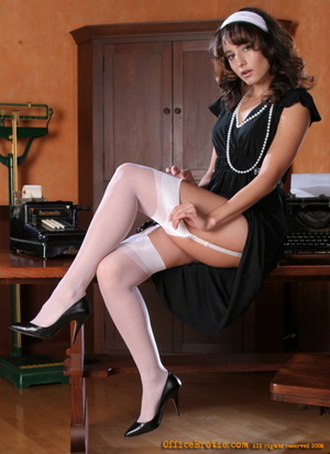 Modest secretary in white stockings tkea - XXX Dessert - Picture 2