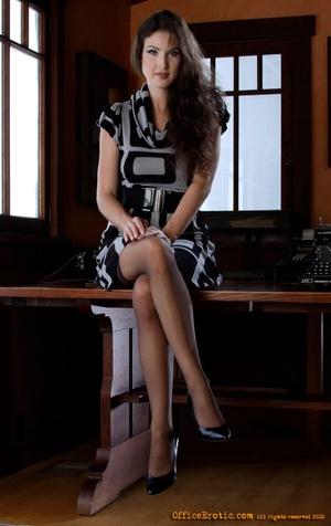 Hot brunette in black stockings gets nak - XXX Dessert - Picture 1