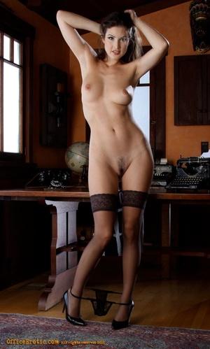 Hot brunette in black stockings gets nak - XXX Dessert - Picture 3