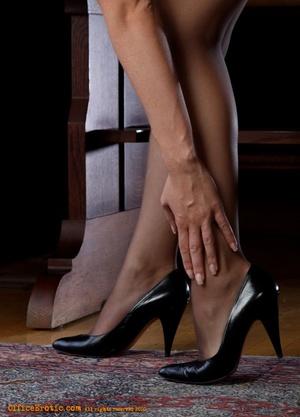 Hot brunette in black stockings gets nak - XXX Dessert - Picture 6