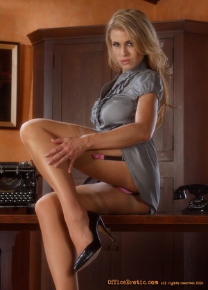 Sexy blonde secretary undresses and rubs - XXX Dessert - Picture 5