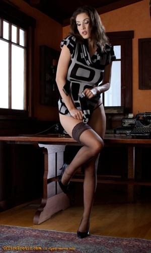 Hot brunette in black stockings gets nak - XXX Dessert - Picture 9