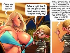 Cartoon blonde stunner in tiny blue bikini - Picture 4