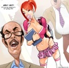 Sex hungry older teacher lookin at his busty student in miniskirt and