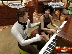 Piano maestro and his 3d shemale gf sucking each - Picture 1