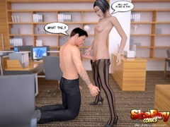 Black pantyhose dressed toon shemale ladyboy lets her - Picture 5