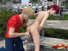 Redhead 3d transsexual in short dress lets her bf - Picture 4