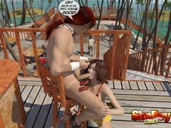 Brunette cartoon ladyboy slips out her bikini and - Picture 5