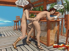 Brunette cartoon ladyboy slips out her bikini and - Picture 7