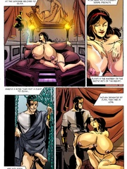 Cartoon Roman bitch with enormous jugs riding a stiff - Picture 2
