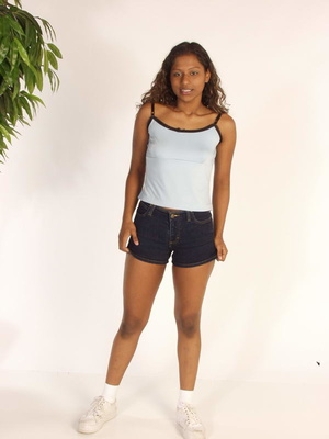 Curly Indian Girl In Tiny Shorts Toying  - Picture 1
