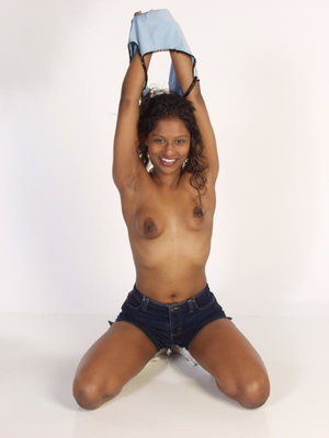 Curly Indian Girl In Tiny Shorts Toying  - Picture 2