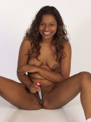 Curly Indian Girl In Tiny Shorts Toying  - Picture 11