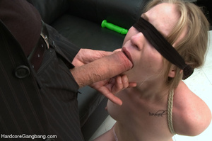 Blindfolded and bondaged blonde having h - XXX Dessert - Picture 3