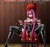 Pink hair drawn bimbo in latex corset and stokings spreading wide.