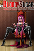 Pink haired dominatrix in corset and latex with legs spread wide open
