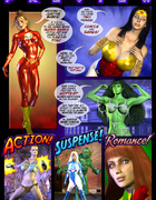 Delicious superheros cannot resist her opponents sexual powers
