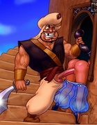 Princess jasmine gets fucked by monkey with banana and lucky guard with