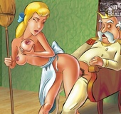 Cinderella gets her pussy cleaned by cat and fucked by king