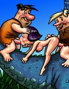 Horny Barney Rubble enjoys fucking three hot chicks at a time
